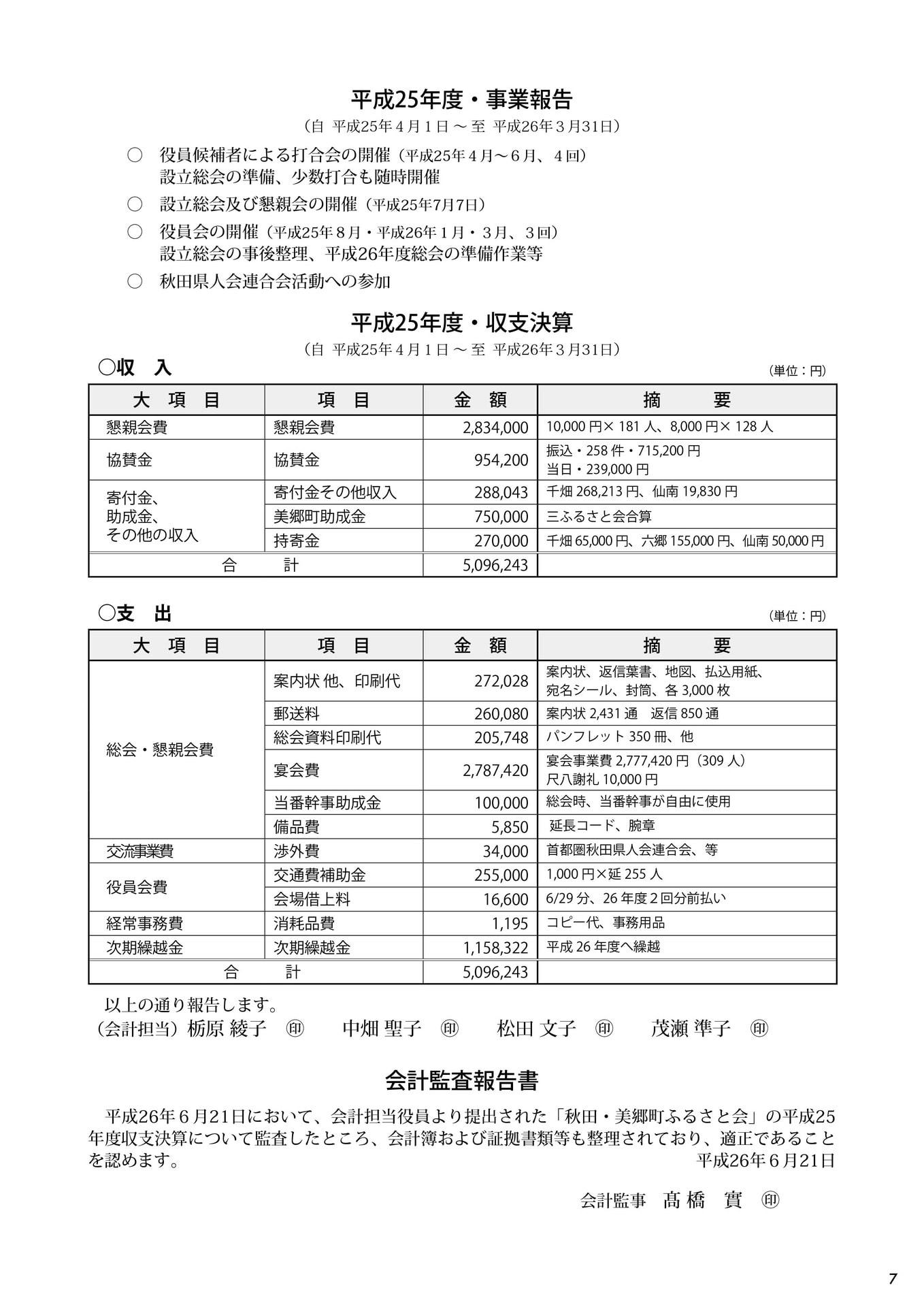 第2回秋田・美郷町ふるさと会パンフレット(事業報告、収支決算、会計監査報告書)