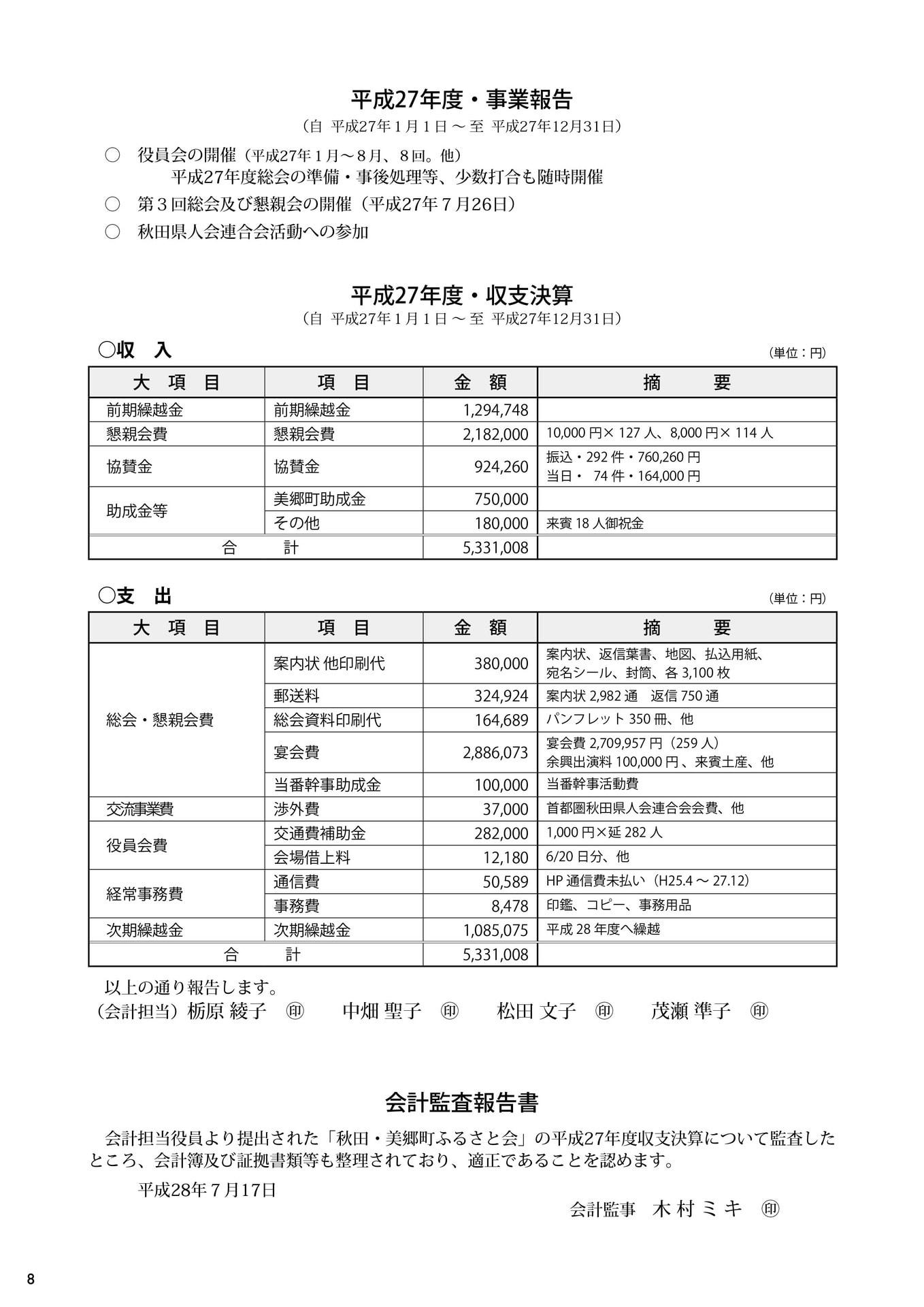 第4回秋田・美郷町ふるさと会パンフレット(事業報告、収支決算、会計監査報告書)