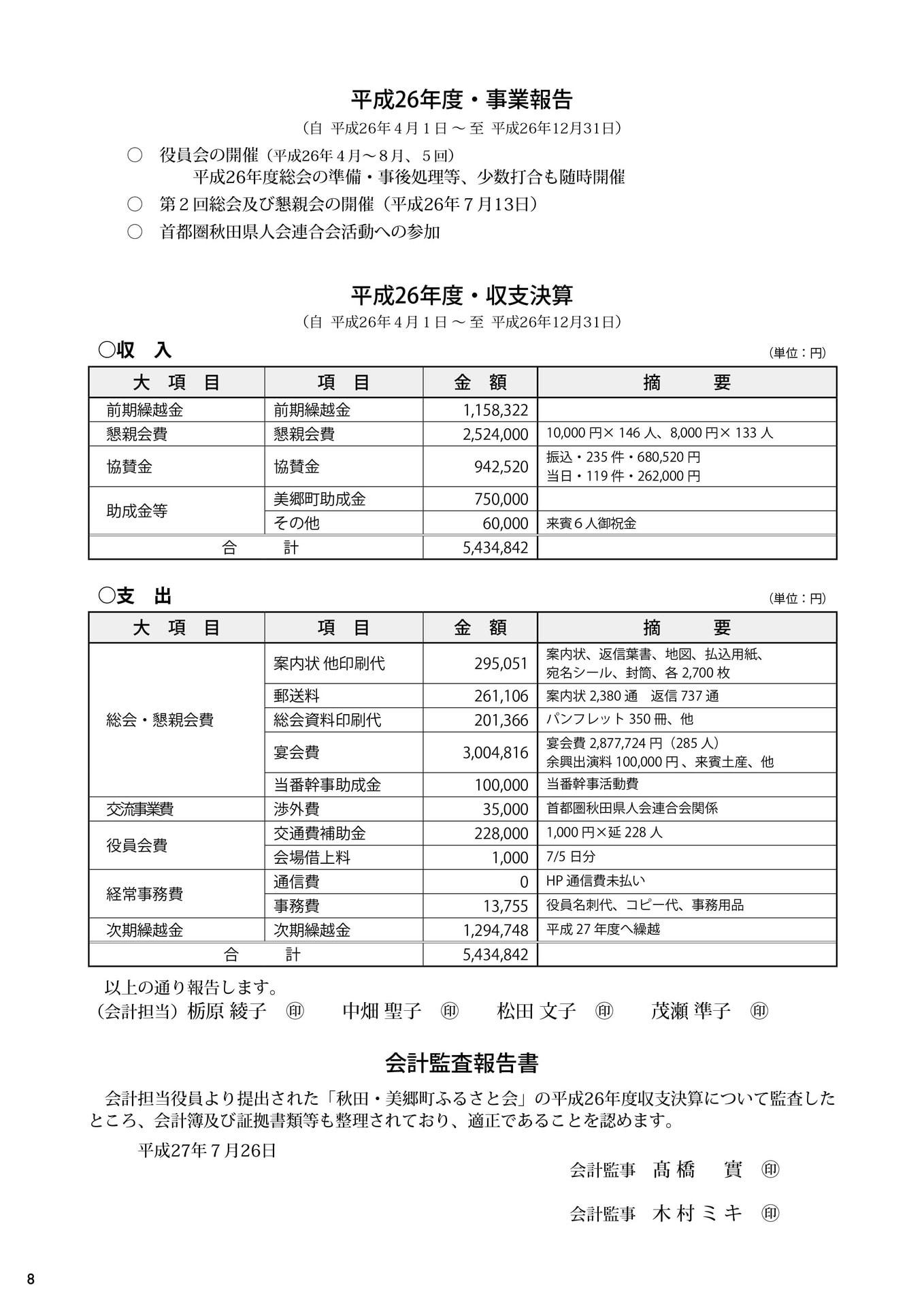 第3回秋田・美郷町ふるさと会パンフレット(事業報告、収支決算、会計監査報告書)